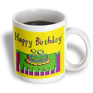 3Drose 90Th Birthday Colorful Cake And Candles Ceramic Mug, 11-Ounce