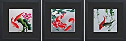 King Silk Art 100% Handmade Embroidery Feng Shui Orange & Black or Red Japanese Koi & Lotus Water Lilies Chinese Wildlife Fish Painting Anniversary Wedding Birthday Party Gifts Oriental Asian Wall Art Décor Artwork Hanging Picture Gallery 32004BF+32010BF