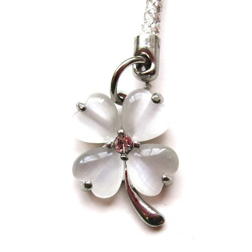 Cell Phone / Camera Charm Strap Beautiful White Diamond Four Leaf Clover