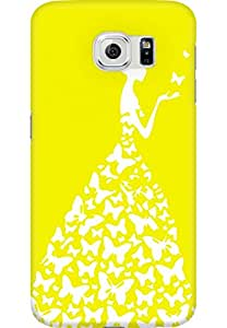 AMEZ designer printed 3d premium high quality back case cover for Samsung Galaxy S6 (bright yellow white girl princess)