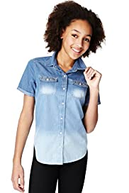 Limited Pure Cotton Short Sleeve Denim Shirt