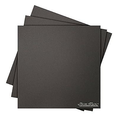"BuildTak BT08x08-3PK 3D Printing Build Surface, 8"" x 8"", 203 mm x 203 mm, Square, Black (Pack of 3)"
