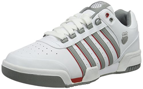 K-Swiss Men's Gstaad White Neutral Gray Red US 10.5 M