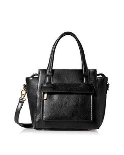 Zenith Women's Satchel with Front Zip Pocket, Black