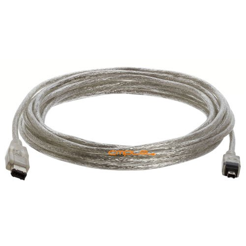 Cmple - IEEE-1394 FireWire iLink DV Cable 6P-4P M/M -15ft (CLEAR)