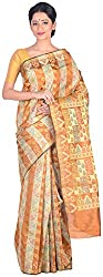 Sree Howrah Stores Women's Silk Saree with Blouse Piece (Mustard Gold)