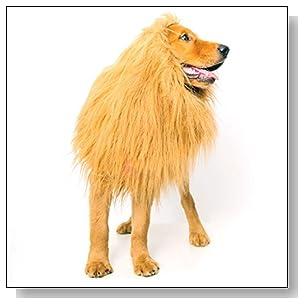 Lion Mane for Dog, Dogloveit Dog Costume with Gift <b>Lion Tail</b> Lion Wig for Dog Large Pet Festival Party Fancy Lion Hair Dog Clothes Dress