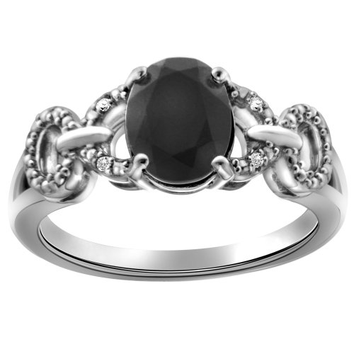 Sterling Silver Oval Onyx and Diamond-Accented Ring, Size 7