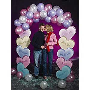 wedding reception decoration ideas, heart candy balloon arch