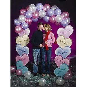 wedding reception decoration ideas, heart candy balloon arch