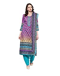 Yepme Women's Purple Blended Semi Stitched Suit - YPMRTS0224_Free Size