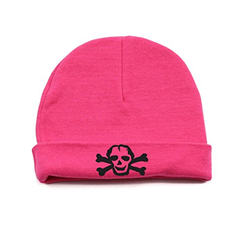 Crazy Baby Clothing Black Scribble Skull Baby Beanie One Size in Color Fuschia