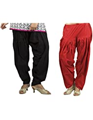 Rama Set Of 2 Red & Black Color Cotton Full Solid Patiala (14RAMA14215555)