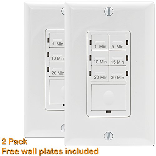 Enerlites HET06A Countdown In-Wall Timer Switch for Ventilation Fan Control, 1-5-10-15-20-30 Min, LED Night Light, NEUTRAL REQUIRED, White, 2 Pack (Electronic Fan Timer compare prices)