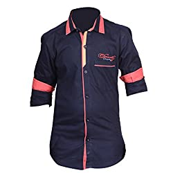 Anry Little Casual Shirts for Boys (9-10 Yrs_Navy_NVY10024)