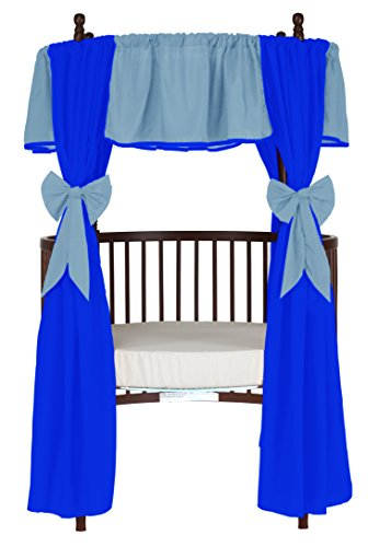 Baby Doll Reversible Round Crib Curtains, Light Blue/Royal Blue