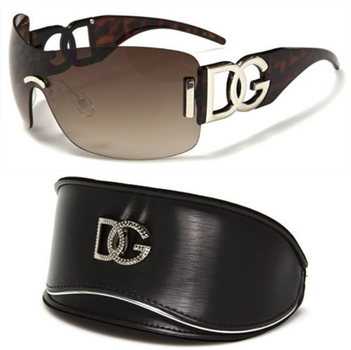 DG Eyewear Brown Oversized Rimless Sunglasses and Oversized Case