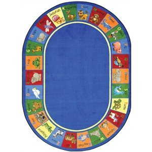 "Abc'S And Animals Premium Cut Pile Stainmaster Nylon Area Rug (Oval 10'9""X13'2"") front-976054"