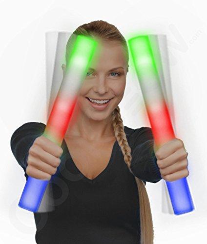 6 Pack - LED Foam Light Stick Baton Supreme - Multicolor Color Changing