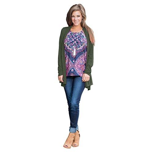 Fortan La donna cardigan nuovo modo solido di colore camicia a maniche lunghe (small, Army Green)