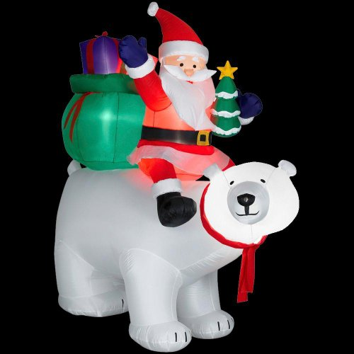 Christmas Decoration Lawn Yard Inflatable Airblown Santa Sitting On Polar Bear With Presents & Christmas Tree 6' front-719476