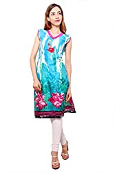 Kurti Studio Festive Light Blue Unstitched Cotton Kurti Dress Material
