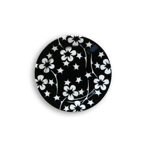 Black Flora Small Plate Set