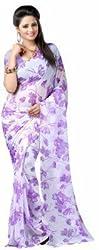 Memsahiba Women Chiffon Floral Printed Saree (MS-1094_ Purple)