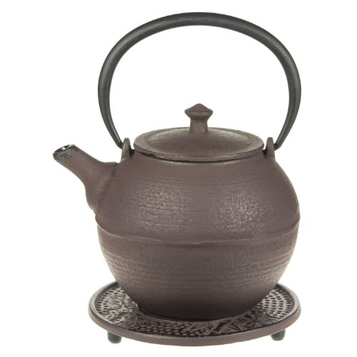 G&H Tea Services Kyoto Japanese Tetsubin 28-Ounce Teapot And Trivet, Natural