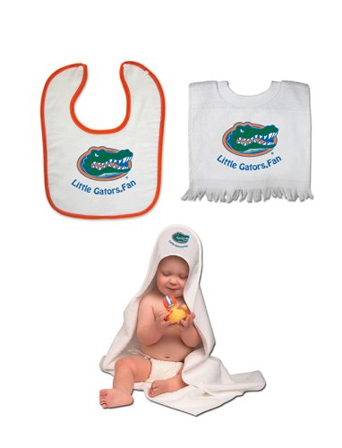 Florida Gators Team Toddler Set - Hooded Towel - Pullover Bib And Snap Bib With Color Trim front-941011