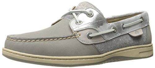 Sperry Top-Sider Women's Bluefish 2-Eye Boat Shoe, Grey/Silver Metallic, 8 M US