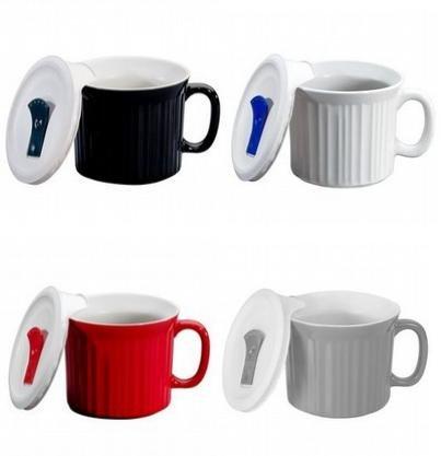 Corningware 20 ounce Pop-Ins Mug Set with Vented Plastic Lids, Set of 4 Contemporary Colors (Corning Ware 20oz Mug compare prices)