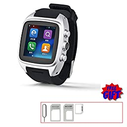 V.one Waterproof SmartWatch with 2G GSM/3G WCDMA SIM Card/Wifi/GPS Tracker/Camera Unlocked Watchphone Bluetooth Support 32g Tf Card Silver Color
