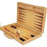 "Da Vinci 15"" Inlaid Wood Backgammon Game Set"