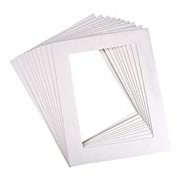 Mudder 10 Pack 8 x 10 Inch White Picture Mats Matting for 6 x 8 Inch Pictures