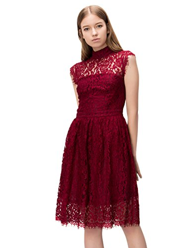 Simple Retro Women's 1950s Mock Neck Cap Sleeve Lace Cocktail Pleated Dress (S, Wine Red)