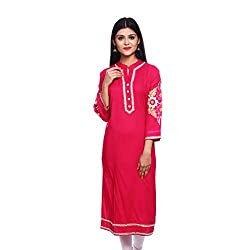 Saamarth Impex Women Cotton Magenta Color embroidery Work Collar Neck A Line Style Kurti SI-2906