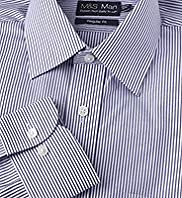 "2"" Shorter Cotton Rich Easy to Iron Bengal Striped Shirt"