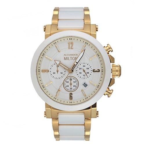 alexander-milton-montre-ceramique-chronographe-modele-milos-blanc-dore
