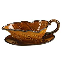 Grasslands Road Home Again Leaf Shaped Ceramic Gravy Boat and Tray