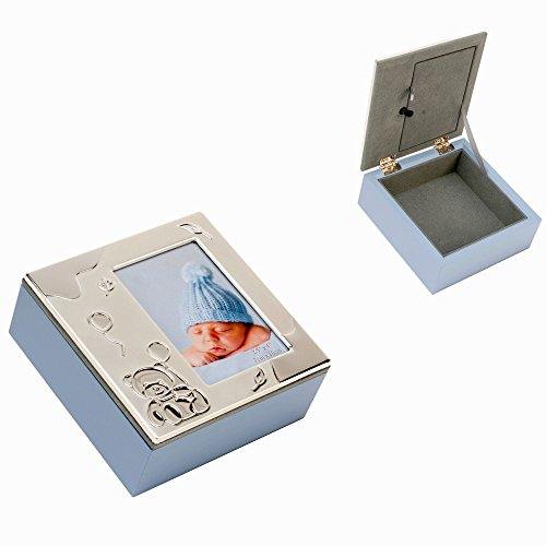 Blue Wood Combination Aluminium Photo Top Keepsake Box By Haysom Interiors