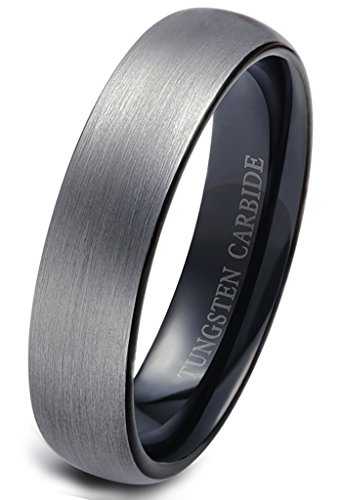 Jstyle Jewelry Tungsten Rings for Men Wedding Engagement Band Brushed Black 6mm Size 6.5