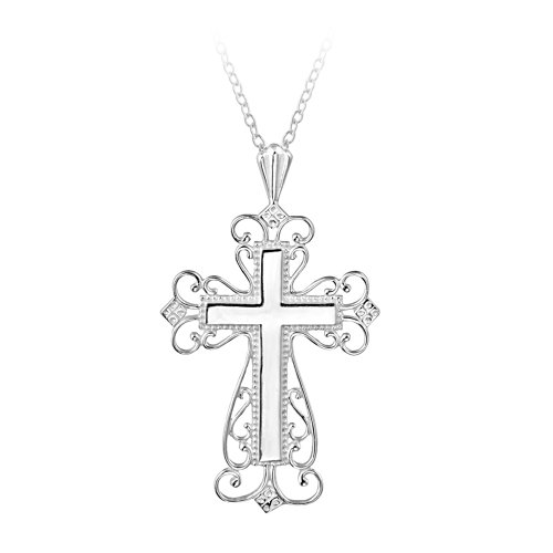 Sterling Silver Large Filigree Cross Pendant Necklace, 18