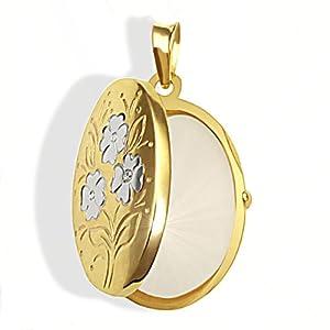 Goldmaid Medallion 333 Gelbgold 1 Diamant 0,005ct Blumenmuster Pr A2570GG