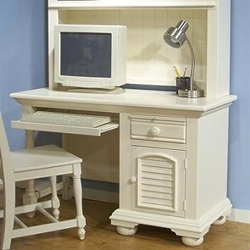 Computer Desk with Bun Feet in Eggshell White Finish