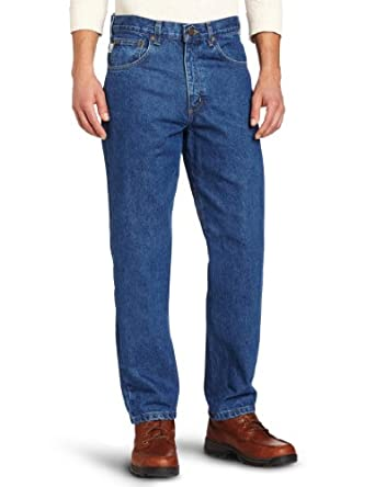 Carhartt Men's  Relaxed Fit Tapered Leg Jean, Darkstone, 28 x 30