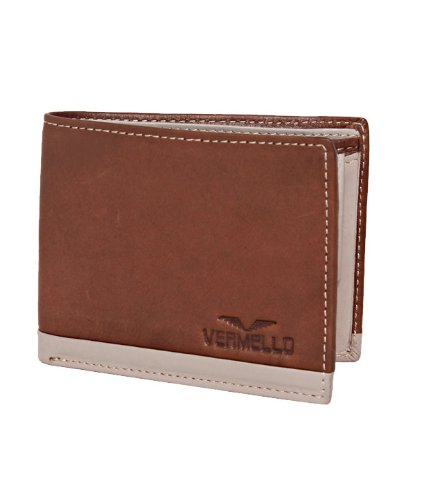VERMELLO Men's Smart Brown & White Leather Wallet - 23 x 8.7 x 2.5 cm (multicolor)