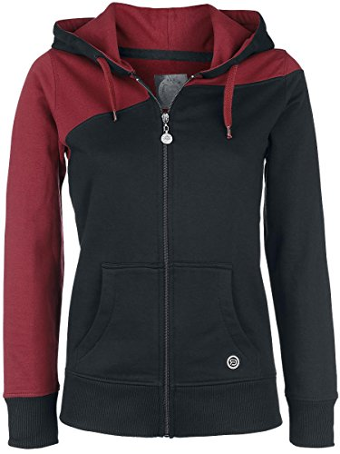 R.E.D. by EMP Two Tone Hoodie Felpa donna bordeaux/nero L