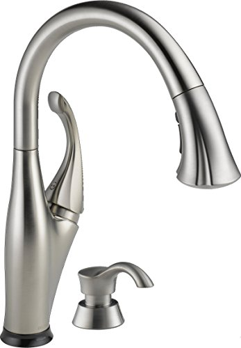 Delta Faucet 9192T-SSSD-DST Addison Single Handle Pull-Down Kitchen Faucet with Touch2O Technology and Soap Dispenser, Stainless (Delta Addison Touch2o compare prices)