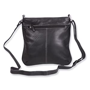 Black Leather Cross Sling Bag